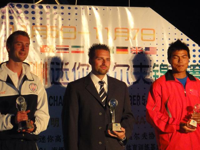 links 2. Platz Richard Skeggs (GBR) - Mitte 1. Platz Marcel Noack (GER) - rechts 3. Platz ... (CHN)