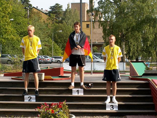 links 2. Platz Martin Sjöberg (SWE) - Mitte 1. Platz Max Hermann (GER) - rechts 3. Platz Philip Svensson (SWE)